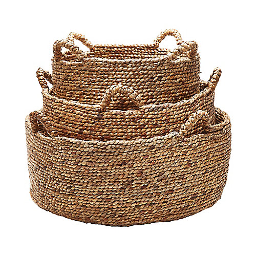 Natural Low Rise Baskets- (Set of 3)