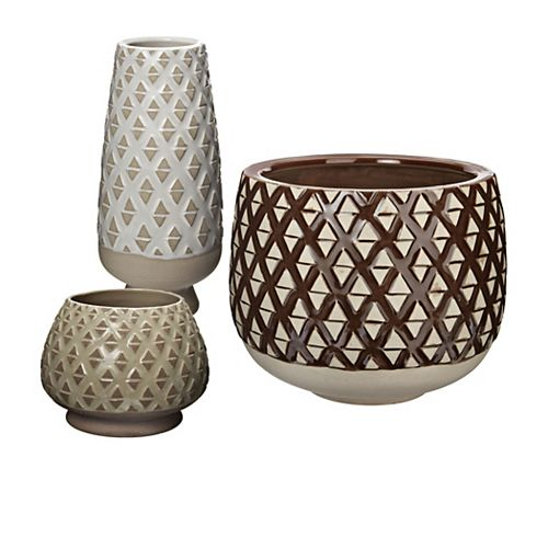 Two Tone Lattice Pots