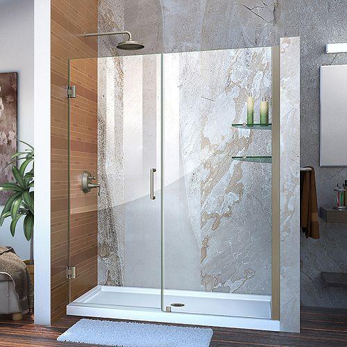 DreamLine Unidoor 56 to 57-inch x 72-inch Frameless Hinged Pivot Shower Door in Brushed Nickel with Handle