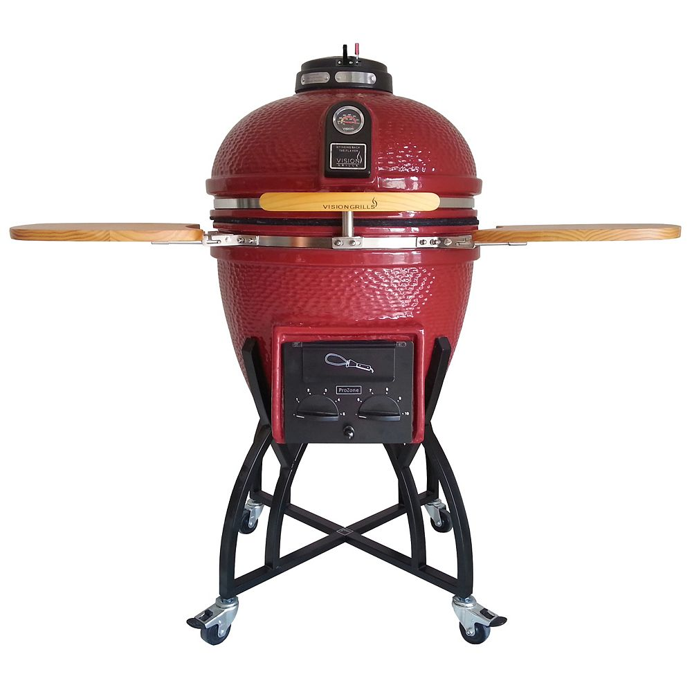 Vision Grills Kamado Professional Ceramic Charcoal BBQ in Chili Red with BBQ Cover S-CR4C1D1
