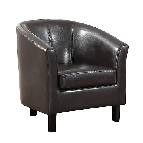 Austin Contemporary Club Faux Leather Accent Chair in Brown with Solid Pattern