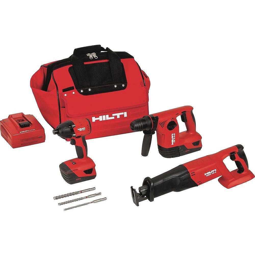 Hilti 18-Volt Lithium-Ion Cordless Rotary Hammer Drill/Reciprocating Saw/Impact Driver Combo Kit (3-Tool)
