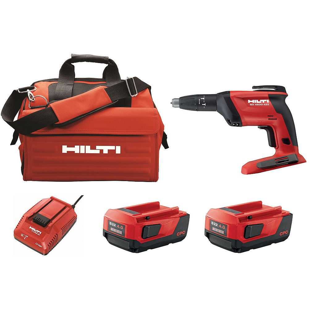 Hilti SD 4500 22-Volt Lith-Ion 1/4 in. Hex Cordless Screwdriver Kit with 22/4.0 Batteries, Charger and Bag