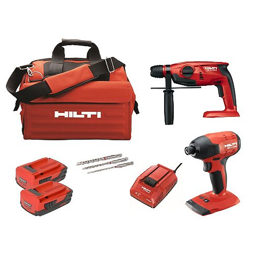 Hilti 22-Volt Lithium-Ion Cordless Rotary Hammer Drill/Impact Driver Compact Combo Kit (2-Tool)