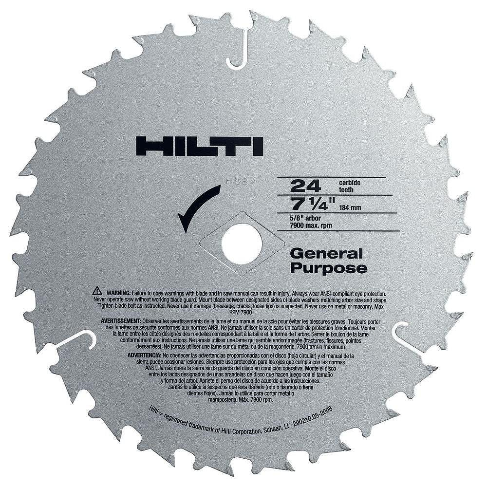 Hilti W-CSC 7-1/4 in. x 24-Teeth General Purpose Circular Saw Blades Contractor's (50-Pack)