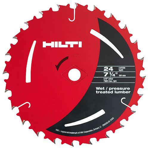 Lames pour scie circulaire pour bois d'uvre humide traité sous pression de 7 1/4po x 24dents ( 50)