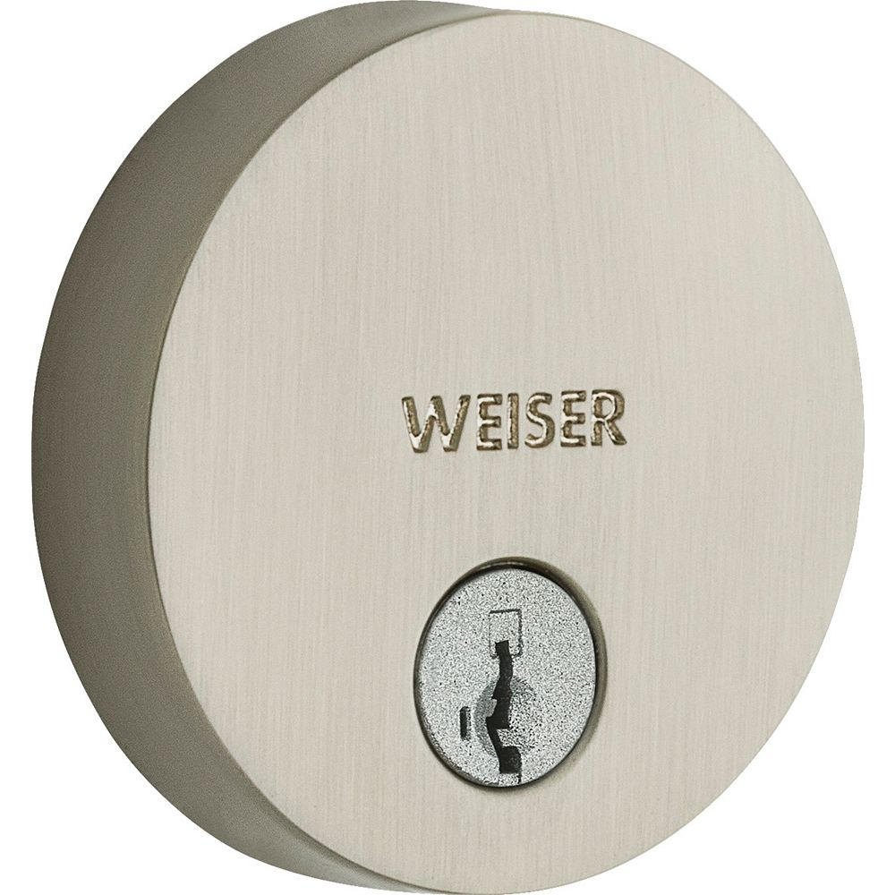 Weiser Low Profile Single Cylinder Round Deadbolt in Satin Nickel