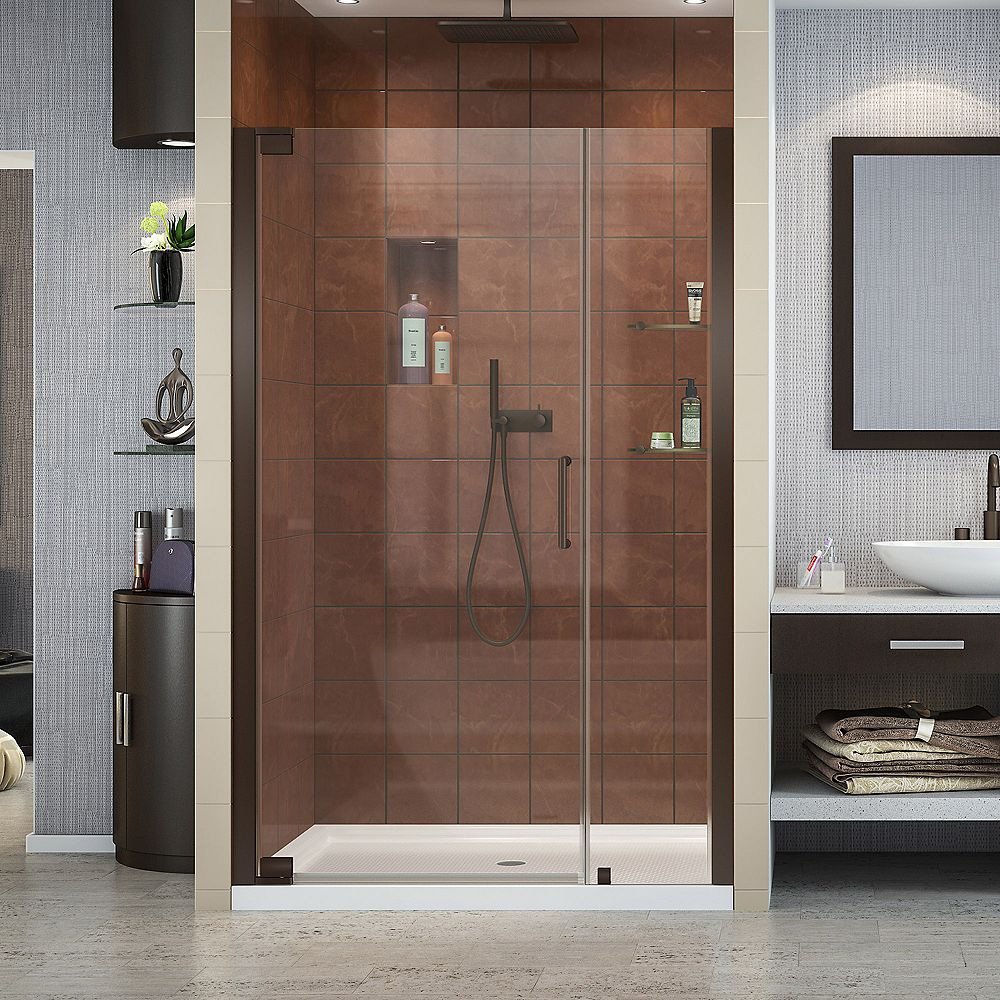 DreamLine Elegance 46-inch to 48-inch x 72-inch Semi-Frameless Pivot Shower Door in Oil Rubbed Bronze