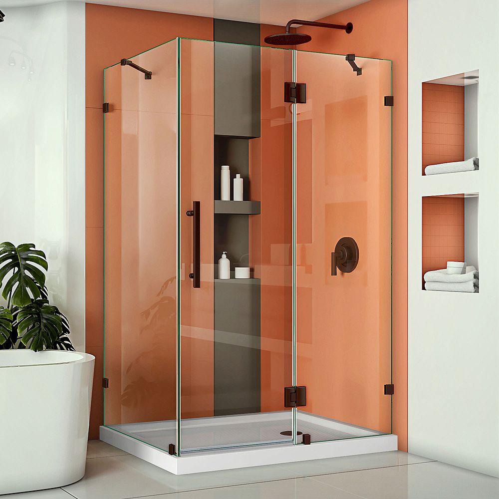 DreamLine Quatra Lux 46-5/16-inch x 34-5/16-inch x 72-inch Frameless Corner Hinged Shower Enclosure in Oil Rubbed Bronze
