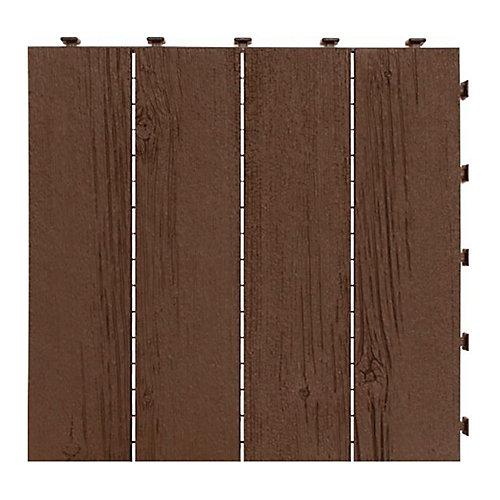 12 inch x 12 inch Barnboard Deck Tile Earth (6-Pack)