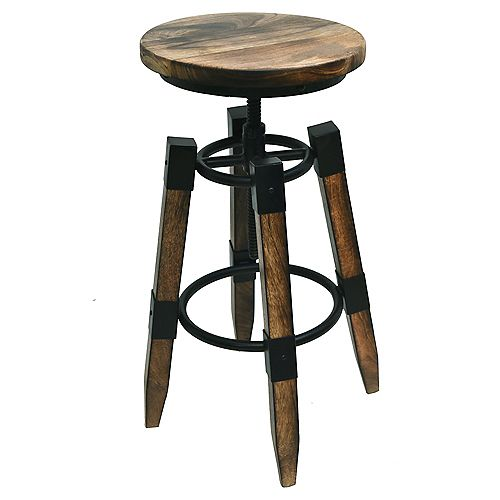 Renfrew Metal Natural Parson Armless Bar Stool with Natural Solid Wood Seat