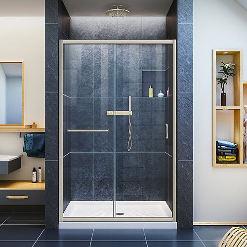 Infinity-Z 36-inch x 48-inch x 74.75-inch Framed Sliding Shower Door in Brushed Nickel with Center Drain White Acrylic Base