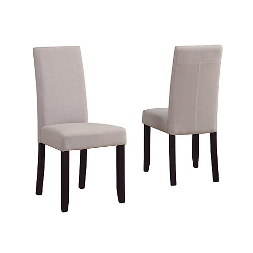 Acadian Solid Wood Brown Parson Armless Dining Chair with Beige Polyester Seat - (Set of 2)