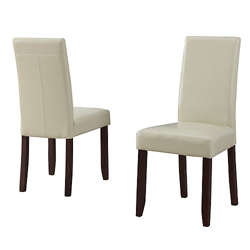 Acadian Solid Wood Brown Parson Armless Dining Chair with Beige Faux Leather Seat (Set of 2)