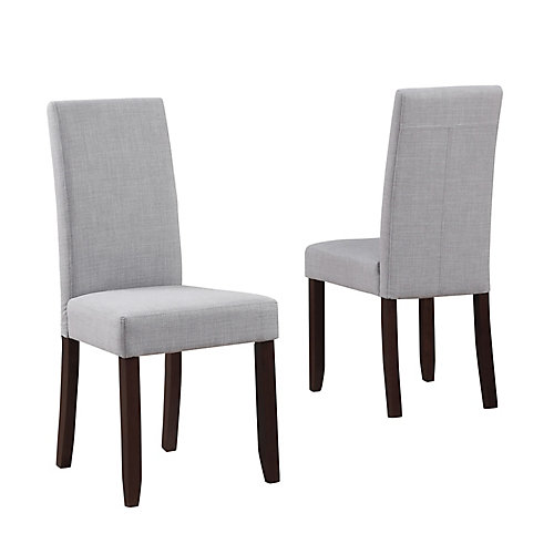 Acadian Solid Wood Brown Parson Armless Dining Chair with Grey Polyester Seat (Set of 2)