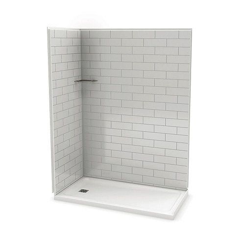 Utile 60 Inch Metro Soft Grey Left Hand Corner Shower Kit