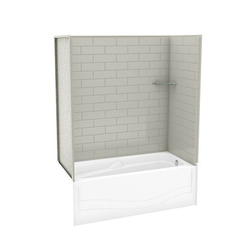 Utile 60-inch x 30-inch x 81.25-inch Metro Soft Grey Tub Shower Kit with Avenue Right Hand Drain