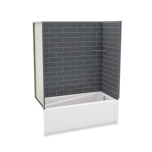 MAAX Utile Kit de douche avec baignoire Metro Thunder Grey de 60 pouces x 30 pouces x 81,25 pouces, avec évacuation à droite de l'avenue