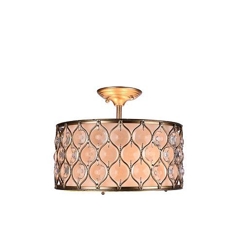 Semi-plafonnier, doré, 3ampoules, 60W, diffuseur verre et métal à motifs