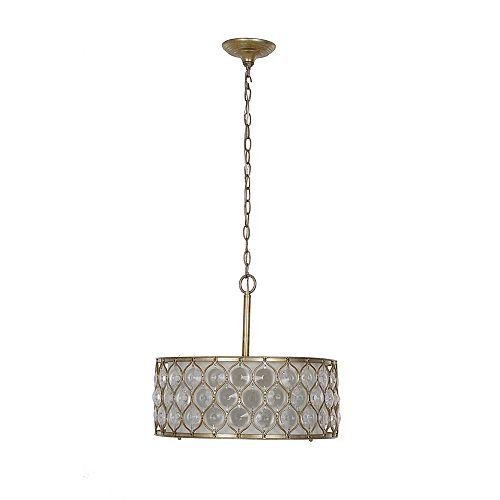 Luminaire suspendu, doré, 3ampoules, 60W, diffuseur verre et métal à motifs