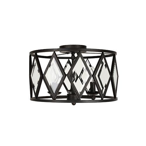 Plafonnier Maria Diamond, bronze, 3ampoules, 60W, diffuseur ornementé de verre biseauté