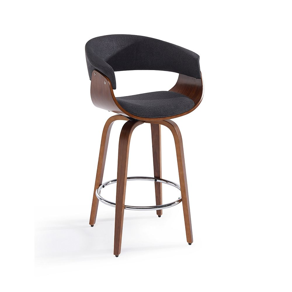 !nspire Holt Metal Walnut Parson Armless Bar Stool with Grey Faux Leather Seat