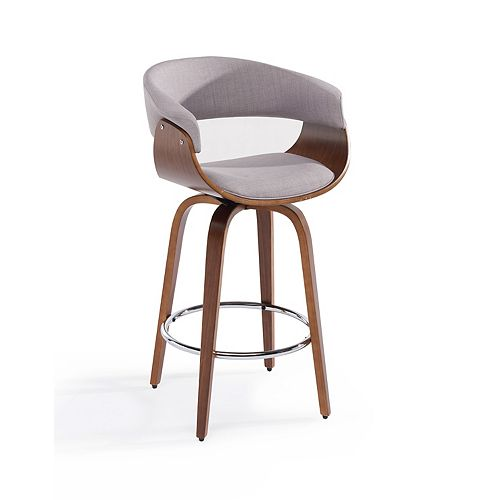Holt Metal Walnut Parson Armless Bar Stool with Grey Fabric Seat