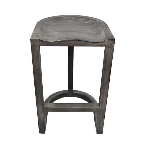 Laredo Metal Natural Parson Armless Bar Stool with Grey Solid Wood Seat