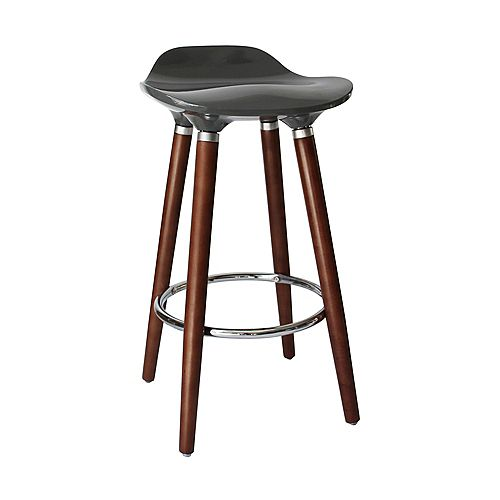 Trex Wood and Chrome Armless Bar Stool with Grey Seat (Set of 2)