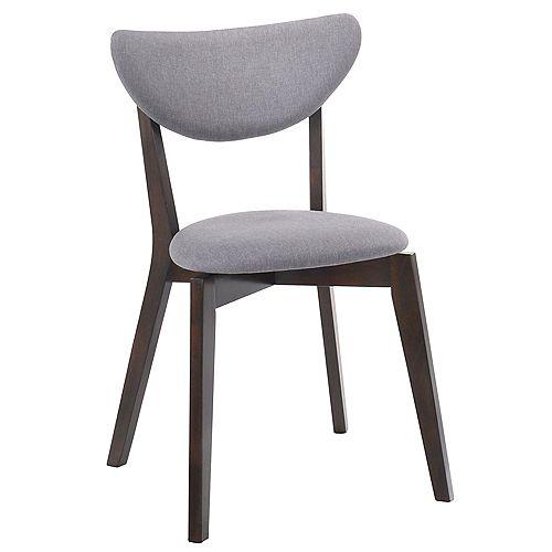 Kokia Wood Walnut Parson Armless Dining Chair with Grey Fabric Seat - (Set of 2)
