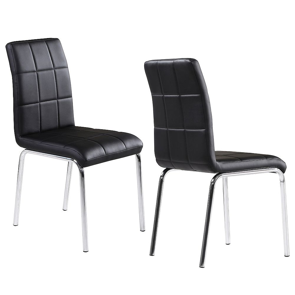WHI Solara II Wood and Chrome Parson Armless Dining Chair with Black Leather Seat - (Set of 4)