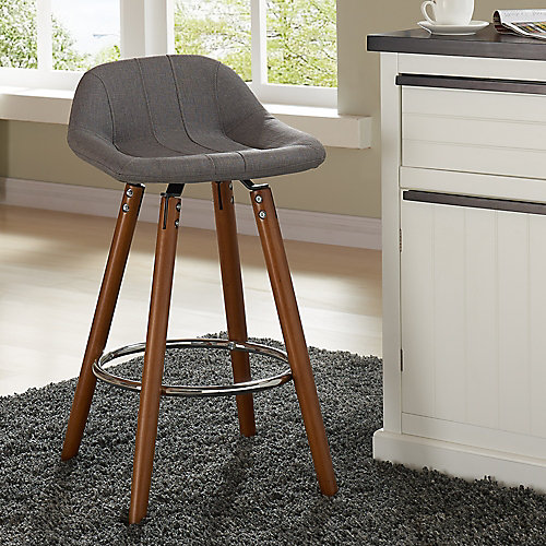 Camaro Solid Wood Walnut Parson Armless Bar Stool with Grey Fabric Seat (Set of 2)