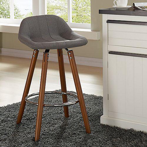 Camaro Solid Wood Walnut Parson Armless Bar Stool with Grey Fabric Seat (Set of 2)