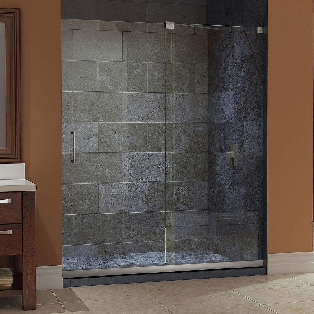 DreamLine Mirage 56 to 60 in. x 72 in. Semi-Framed Sliding Shower Door in Brushed Nickel