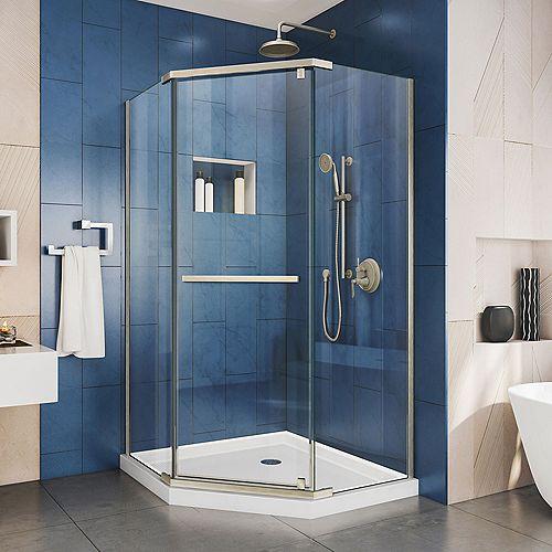 DreamLine Prism 40-1/8-inch x 40-1/8-inch x 72-inch Semi-Frameless Pivot Shower Enclosure in Brushed Nickel