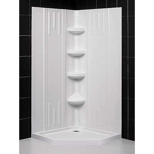 Slimline 42  Inch  X 42  Inch  X 75-5/8  Inch  Shower Base Corner Drain Base In White With QWALL-2 Backwalls