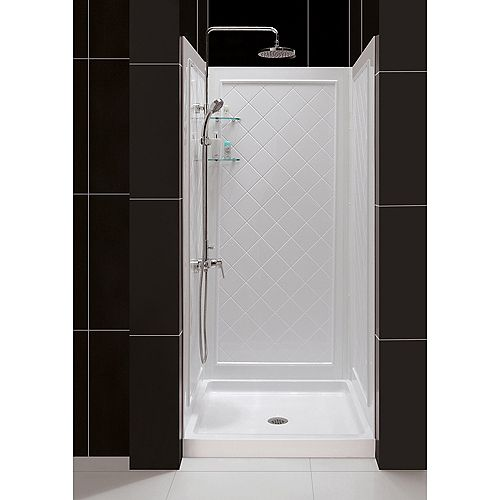 SlimLine 36-inch x 36-inch Single Threshold Shower Base in White Center Drain Base with Back Walls