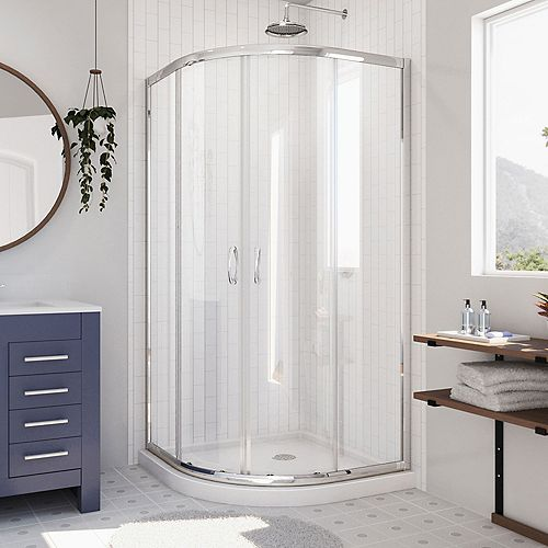Prime 38-inch x 38-inch x 74.75-inch Framed Sliding Shower Enclosure in Chrome with Quarter Round Shower Base