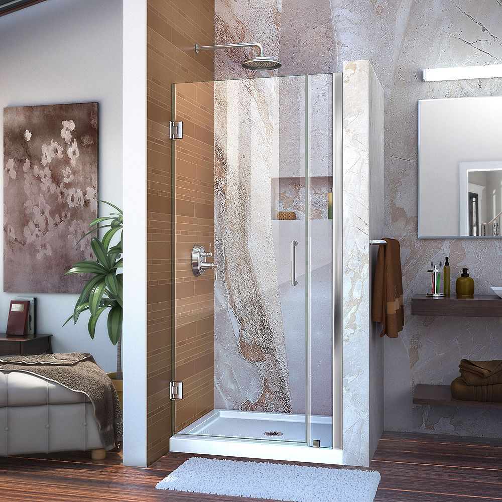 DreamLine Unidoor 91.44-93.98 cm W x 182.88 cm H Sans Cadre Articulé Porte Douche en Chrome