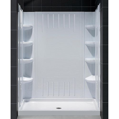 SlimLine 32-inch x 60-inch Single Threshold Shower Base with Center Drain and QWALL-3 Shower Back Wall Kit in White