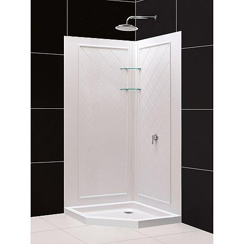 Slimline 42  Inch  X 42  Inch  X 76-3/4  Inch  Shower Base Corner Drain Base In White With QWALL-4 Backwalls