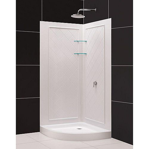 Slimline 33  Inch  X 33  Inch  X 76-3/4  Inch  Shower Base Corner Drain Base In White With QWALL-4 Backwalls