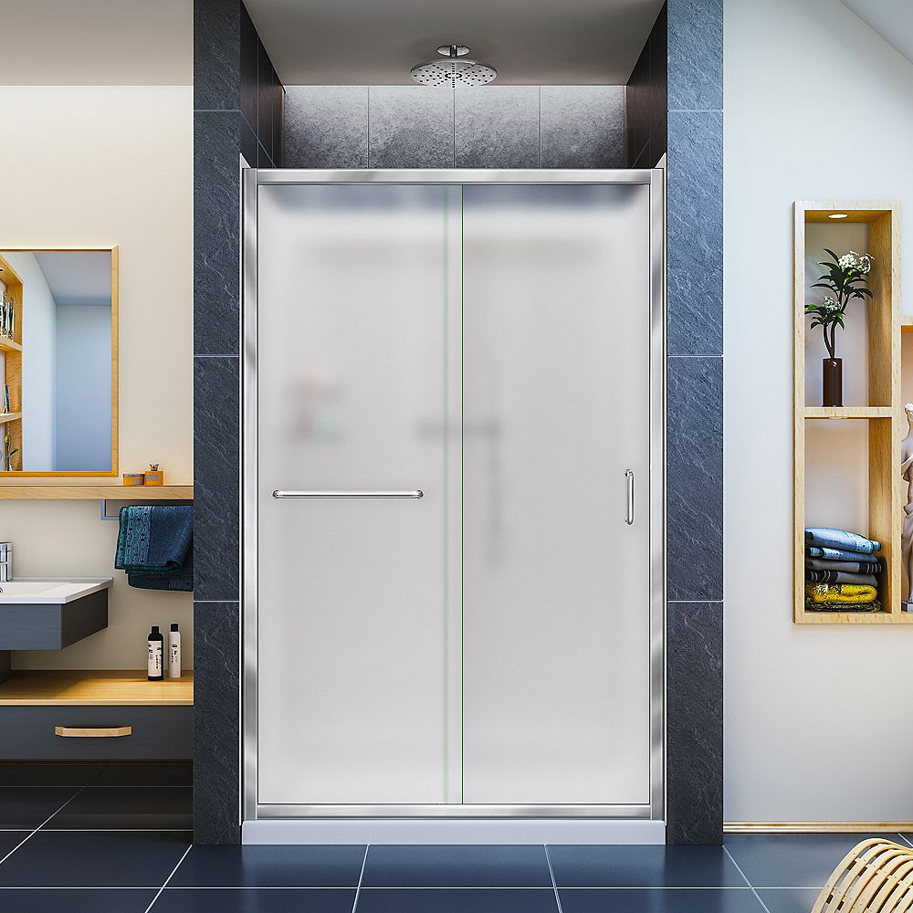DreamLine Infinity-Z 36-inch x 48-inch x 76.75-inch Framed Sliding Shower Door in Chrome with Center Drain Base and Back Walls Kit