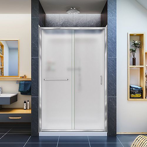 Infinity-Z 36-inch x 48-inch x 76.75-inch Framed Sliding Shower Door in Chrome with Center Drain Base and Back Walls Kit