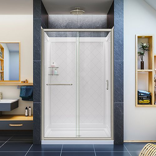 Infinity-Z 36-inch x 48-inch x 76.75-inch Framed Sliding Shower Door in Brushed Nickel with Center Drain Base and BackWalls