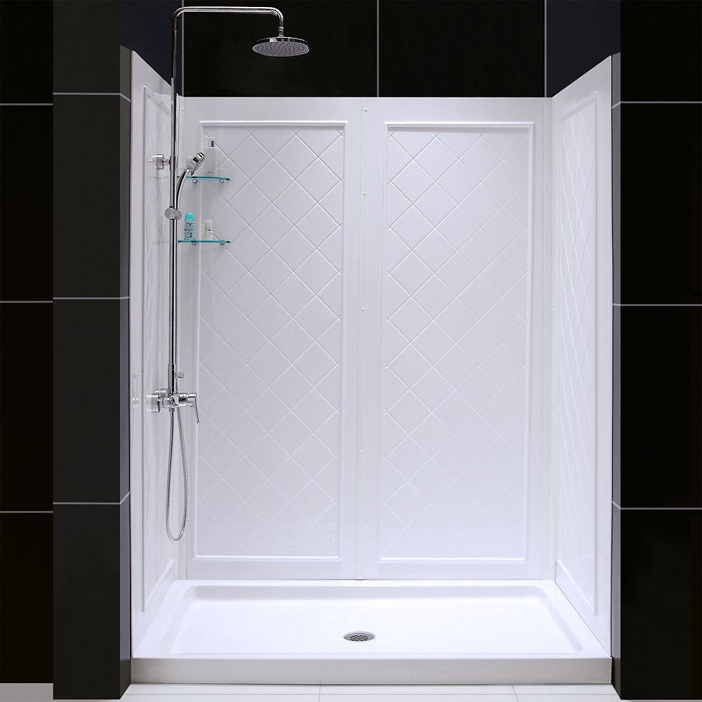 SlimLine 34-inch x 60-inch Single Threshold Shower Base in White Center Drain Base with Back Walls