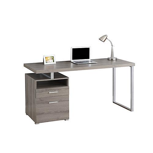 Bureau d'ordinateur standard, 60po x 30po x 24po, gris