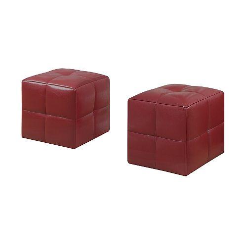 Ottoman - 2-Piece Set / Juvenile / Red Leather-Look