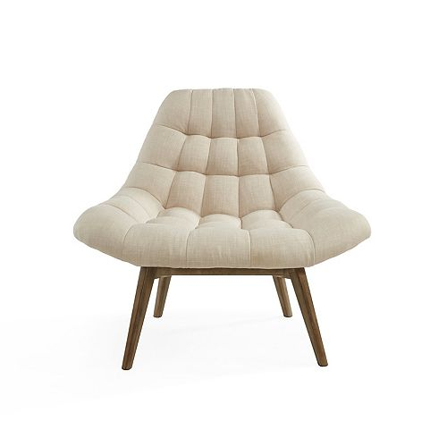 Oasis Occasional Polyester/Polyester Blend Accent Chair in Beige with Solid Pattern