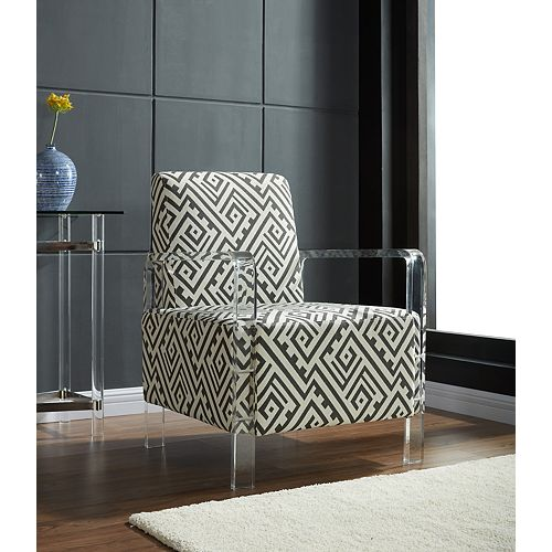 Valentina Occasional Accent Chair in Beige with Geometrical Pattern